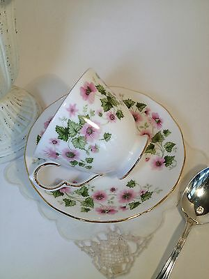 Vintage TEA CUP AND SAUCER ETCHED GOLD TEACUP ROYAL GRAFTON PINK FLOWERS