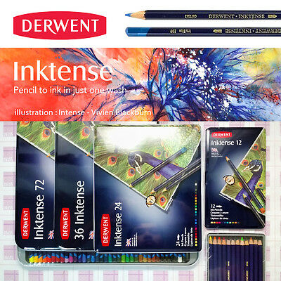 Derwent Inktense 12 24 36 72 water-soluble vibrant ink like colored pencil ALLEY