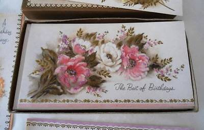Vintage Greeting Card Glitter Flowers Birthday Get Well Baby Box of 12