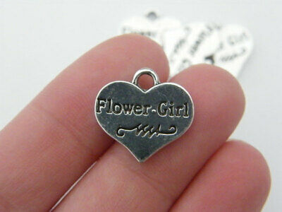 SC4226 4 Wife Heart Charms Antique Silver Tone 2 Sided with Inset Rhinestones