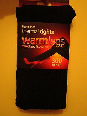1 pack ladies 300 denier extra warm fleece lined thermal tights black