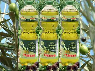 Three (3) 100% Natural Virgin Olive Oil Mabrouka from Morocco (1 Litter in each)