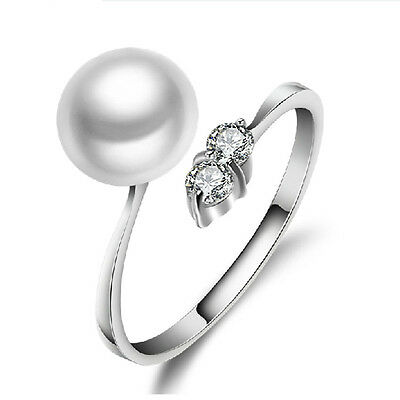 Ladies White Freshwater Pearl Crystal CZ  925 Sterling Silver Adjustable Ring