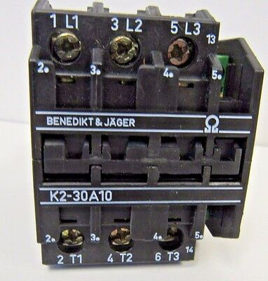 Benedikt And Jager K2-30A10 Contactor 110-120Vac Coil Used