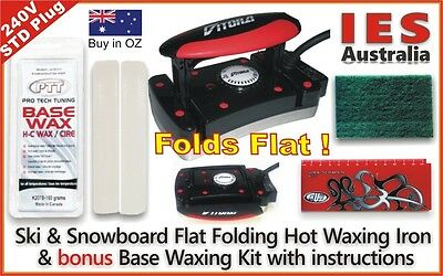 Ski-Snowboard Vitora Flat Folding Hot Waxing Iron & Base all Temp Wax Kit+Guide