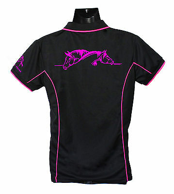 Horse Polo Shirt Two Horses Grooming Brand New Ladies Sizes 8-24