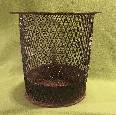 🗑 Antique ~ Wire Trash Basket ~ Industrial ~ Expanded Steel Mesh