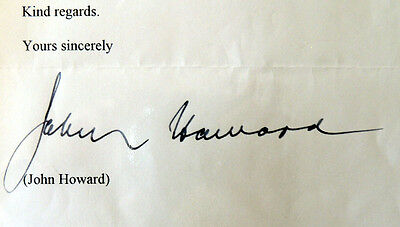 John Howard  - Personally Signed Letter to MP