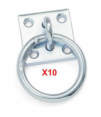 Shires Rust Proof Galvanized Steel Tie Ring with Plate & Fixing Screws Set Of 10
