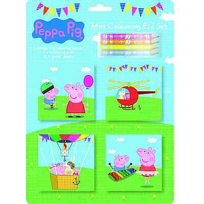 Peppa Pig Mini Colouring Book Pad Set Pencil Crayons Sticker Sheets Pack Party