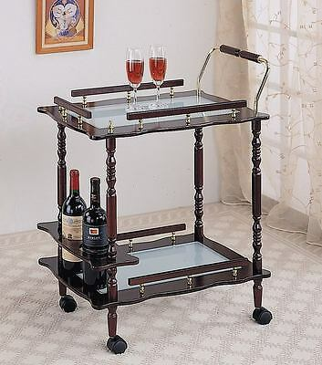 Cherry Serving Cart w/ Frosted Glass Shelves and Wine Storage by Coaster 910010