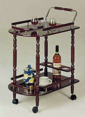 Cherry Finish Serving Cart With Brass Accents By Coaster 3512