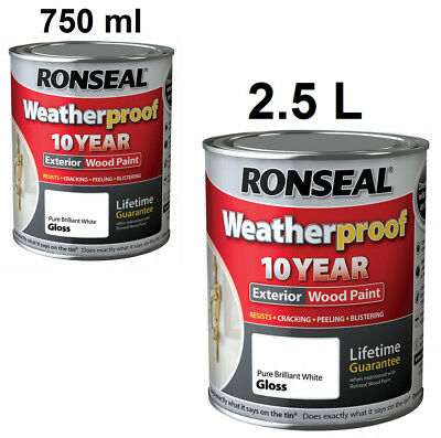 Ronseal Weatherproof 10 Year Exterior Wood Paint Gloss Pure Brilliant White