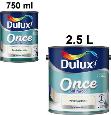 Dulux Once Satinwood Pure Brilliant White For Wood And Metal