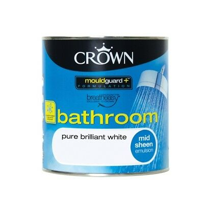 Crown Bathroom Pure Brilliant White For Walls,Ceilings,Wood And Metal 1L