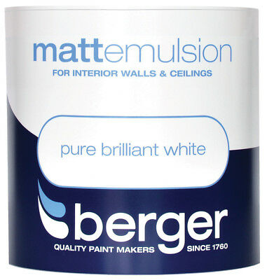 Berger Matt Emulsion for Interior Walls and Ceilings Pure Brilliant White 1L