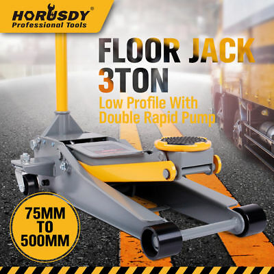 3T Super Low Profile Car Trolley Hydraulic Floor Jack Dual Pump 75-500mm SoftPad