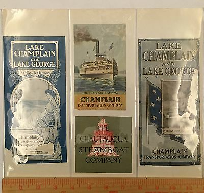 Antique Steam Ship Label Time Table Cover Lot Lake Champlain George Steamboat 2