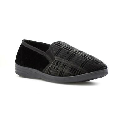 The Slipper Company Mens Checked Slipper in Black - Sizes 5,6,7,8,9,10,11,12