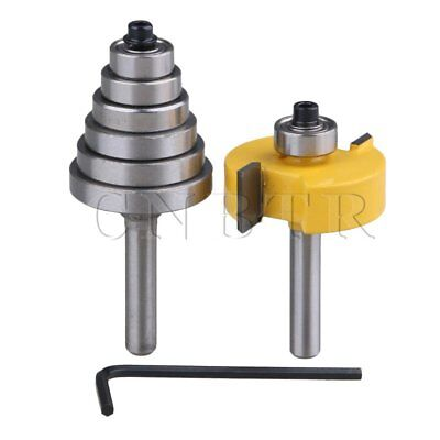 "2pcs 1/4""""Shank Rabbet Router Bit with 6 Bearing for Woodworking Cutter"