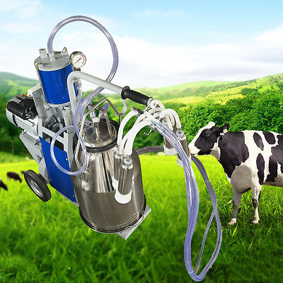 Electric Milking Machine For farm Cows Bucket 2Plug 25L 304 Stainless Steel US