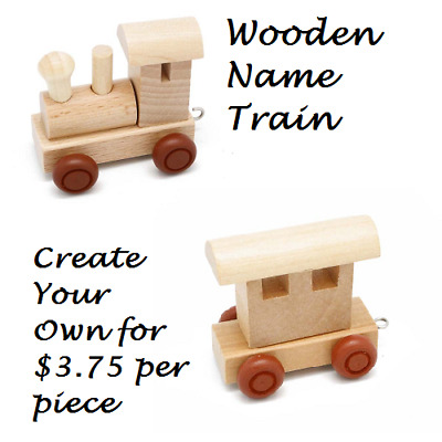 CREATE YOUR OWN Personalised WOODEN NAME TRAIN Baby Shower Nursery Decor GIFT