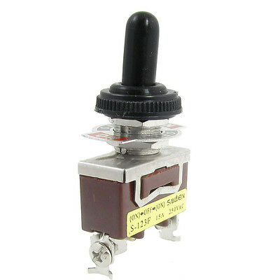 New AC 250V 15A ON/OFF/ON Momentary SPDT Toggle Switch with Waterproof Boot DT