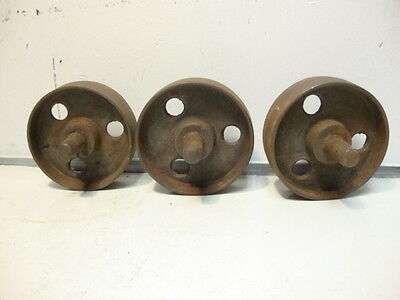 "3 Vintage 3-1/8"" Cast Iron Wheels 1""  Cart Steampunk Art Small Wheelbarrow"