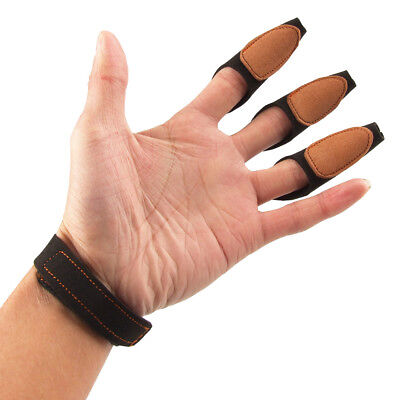 Black Archery 3 Fingers Protector Glove Pull Bow Arrow Shooting Hunting Gear
