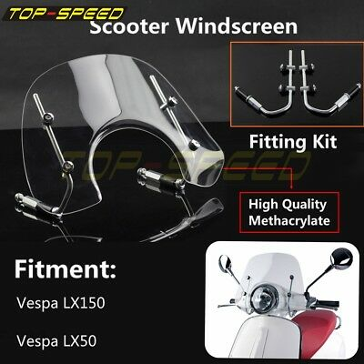 4mm Thick Methacrylate Clear Flyscreen With Fitting Kit For Vespa LX150 LX50 New