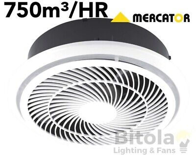 NEW MERCATOR HELIX 290mm HIGH EXTRACTION ROUND BATHROOM EXHAUST FAN WHITE