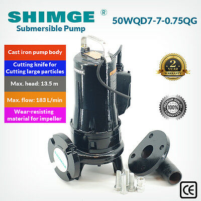 Shimge 50WQD7-7-0.75QG Cast Iron Sewage Cutter/Shredder Pump for Dirty Water