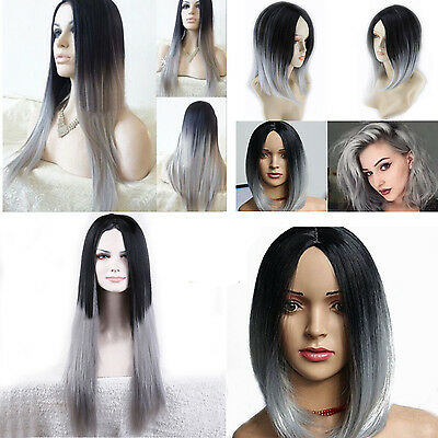 New Womens Short Long Straight Curly Synthetic Black Grey Cosplay Wig Costume