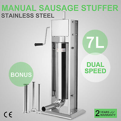 7L Sausage Stuffer Filler Meat Maker Machine Stainless Steel 20LB Dual Speed New
