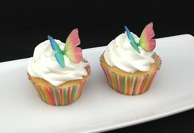 24 x Rainbow Butterfly Edible Cupcake Toppers Cake Decorations Wafer Rice Paper