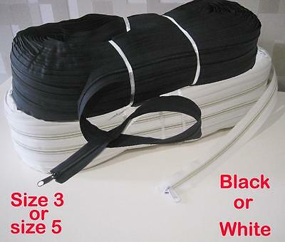 Black or White Continuous zip sold per meter / zipper with sliders upholstery