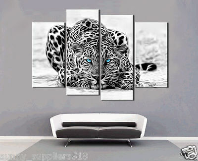 4pc modern wall Decor hand-paint Animal art painting Leopard on canvas No framed