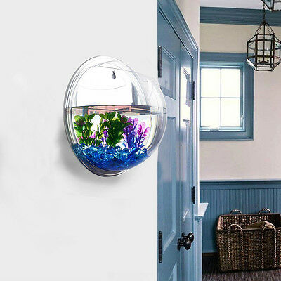 Mini Wall Mount Hanging Fish Bubble Aquarium Bowl Tank Home Decoration Pot Plant