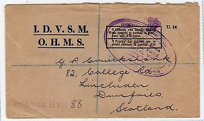 South West Africa: 1947 O.h.m.s. Registered Cover To Scotland (C20215)