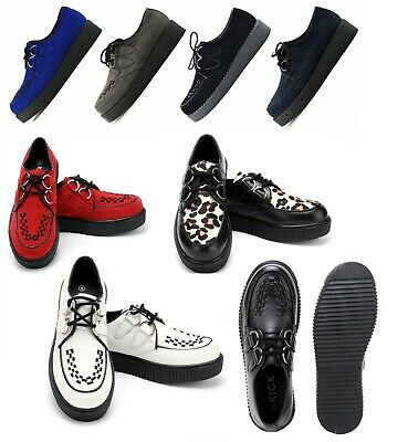 Mens Womens Flat Black Platform Teddy Boy Lace Up Goth Punk Creepers Shoes Boots