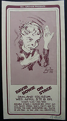 Poster David Bowie On Stage 1978 30X56 Signed By Randy Tuten Oakland Coliseum Ca