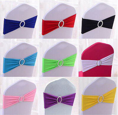 20/50/100pcs Spandex Stretch Lycra Wedding chair sashes Band with round buckle