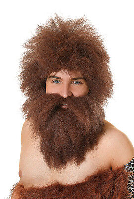 Caveman Wig With Beard Set Halloween Party Fancy Dress Accessory