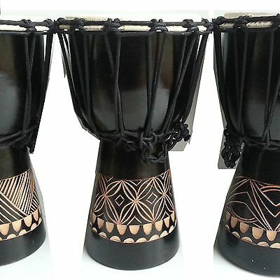 1 X Djembe Drum Bongo Mahogany Wood Junior Primary Tuned & Tested 30Cm Tall