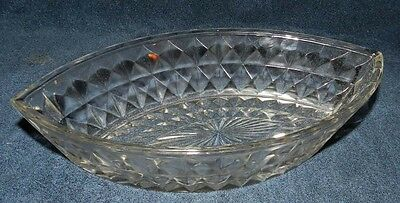 Jeanette Windsor Diamond Clear Depression Glass Boat Shaped Bowl 11 3/4""
