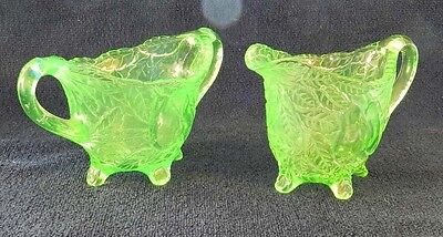 "Indiana Avocado Green Depression Glass Creamer & Sugar 3 3/4"" tall"