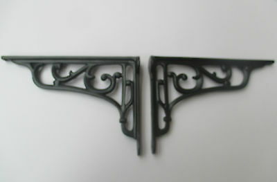 "9"" PAIR OF BLACK cast iron Victorian scroll ornate shelf support wall brackets"
