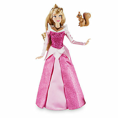 "NEW Disney Store Sleeping Beauty Aurora Classic 12"" Doll with Squirrel Figure"