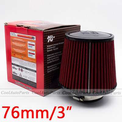 """3"""" Car Red Air Filter Inlet Short Ram Cold Intake Round Cone High Flow Cleaner"""