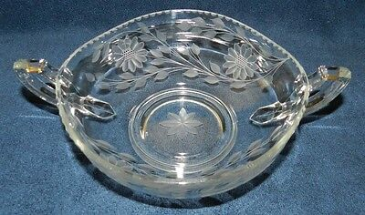 "1923-24 Hughes Cornflower 8"" 2 handled bowl 'wave edge' RARE Authenticated"
